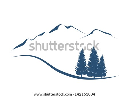 stylized illustration showing an alpine Landscape with mountains and firs - stock vector