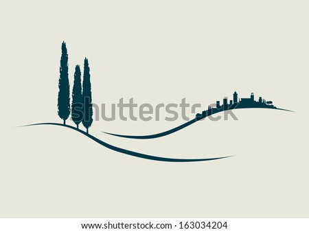 stylized Illustration showing San Gimignano in Tuscany Italy - stock vector