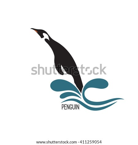 Stylized image of penguin jumping out of water - stock vector