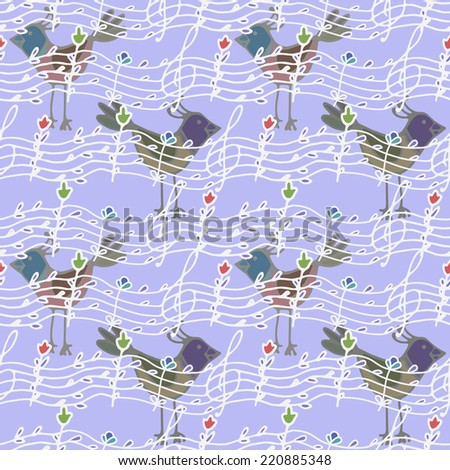 stylized image of seamless pattern with musical notes and birdsong  - stock vector