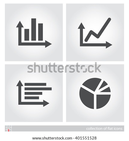 Stylized images of charts. Set of flat icons. Vector illustration