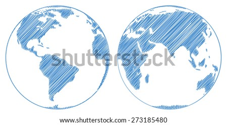 Stylized images of two hemispheres of the Earth. Vector illustration - stock vector