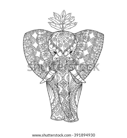 Stylized Indian patterned elephant