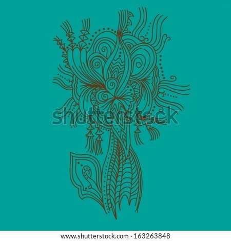 Stylized isolated tree. Hand drawn vector element for your design - stock vector
