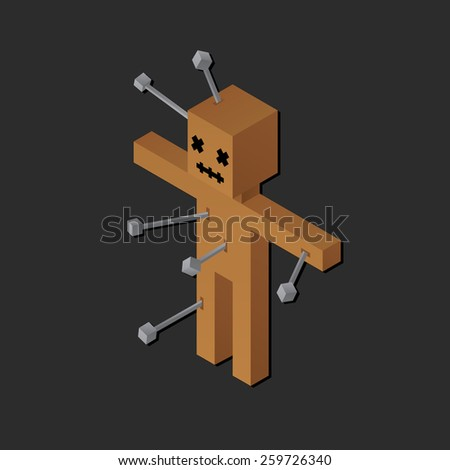 Stylized isometric cartoon voodoo doll with pins. - stock vector
