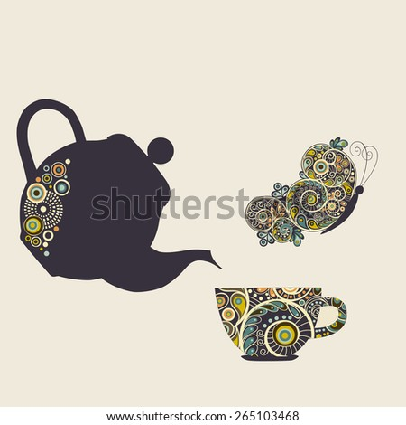Stylized kettle, cup and butterfly with design elements and place for text - stock vector