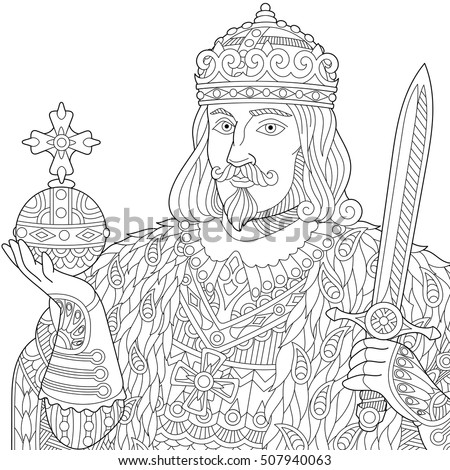 Stylized King Prince Or Royal Lord In A Crown Holding Scepter And Sword