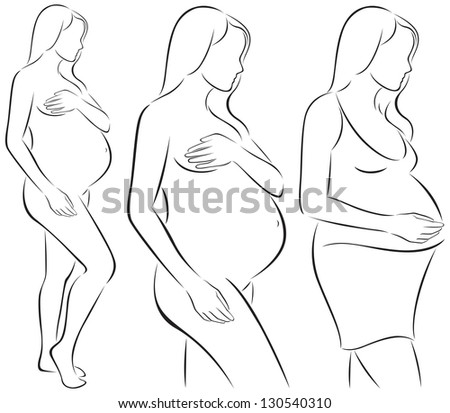 Stylized line drawing nude and pregnant in a dress/ Silhouettes of pregnant woman - stock vector