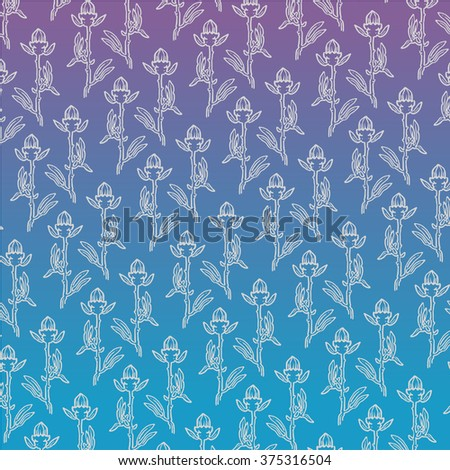 Stylized linear design flowers on gradient blue background - stock vector