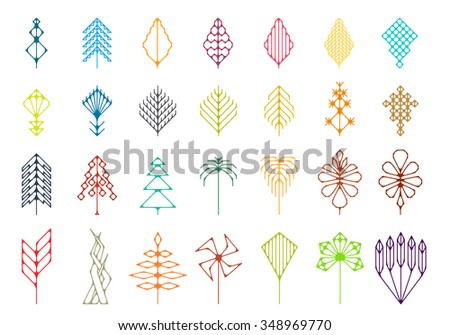 Stylized magical forest hipster set - stock vector