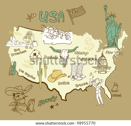 Stylized map of America. Things that different Regions in USA are famous for. - stock vector