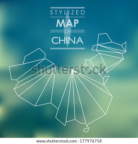 Stylized map of China. map concept - stock vector