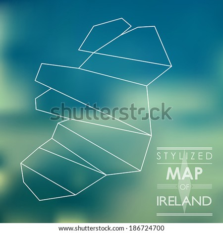 stylized map of map of ireland. map concept - stock vector