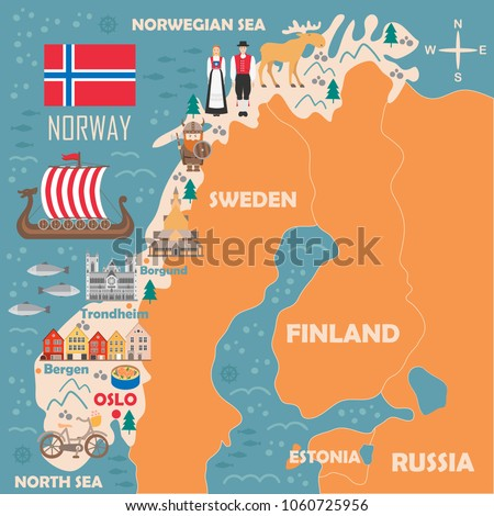 Stylized Map Norway Travel Illustration Norwegian Stock Vector - National landmarks map