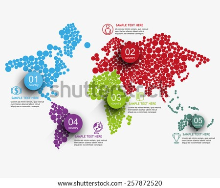 stylized map of the world / global processes in the world / vector infographics element - stock vector
