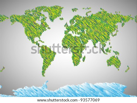 Stylized map of world.Vector eps10 - stock vector