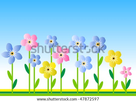 Stylized meadow with different flowers