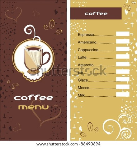 Coffee Tea Shop Menu Card Stock Vector 76395991 - Shutterstock