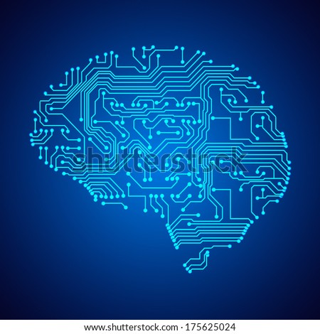 Stylized mind. Circuit board texture. EPS10 vector - stock vector