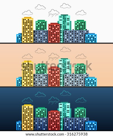 Stylized modern design urban panoramas at different times of the day. Flat style with elements doodle. Colored blocks of flats. Morning and afternoon Evening, Night - stock vector