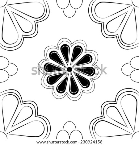 Stylized monochrome black & white floral vector tile that will seamlessly fit into your background.  - stock vector