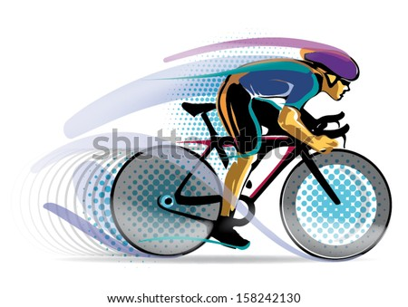 stylized motion cyclist. vector illustration - stock vector