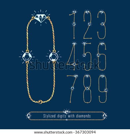 Stylized numbers of gold and diamonds. Set. eps8. Zero 0 One 1 Two 2 Three 3 Four 4 Five 5 Six 6 Seven 7 eight 8 nine 9. - stock vector