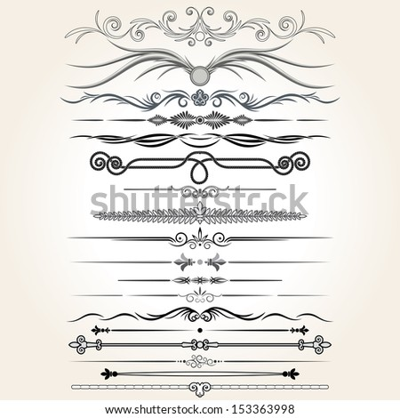 Stylized Ornamental Rule Lines. Vector Design Elements. - stock vector