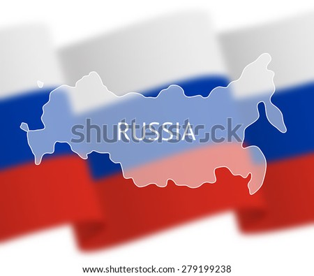 Stylized outline map of Russia on national flag background. Inscription RUSSIA over the image - stock vector