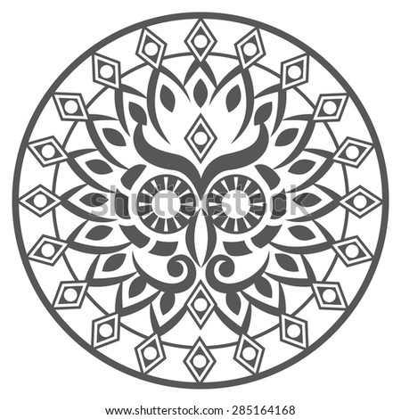 Stylized owl hand drawn hamsa with ethnic round ornaments - stock vector