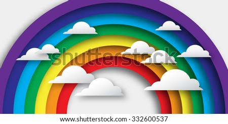 Stylized paper cutout clouds and rainbow. Vector applique.
