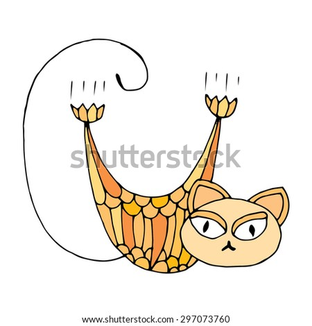 Stylized patterned illustration of cat - stock vector