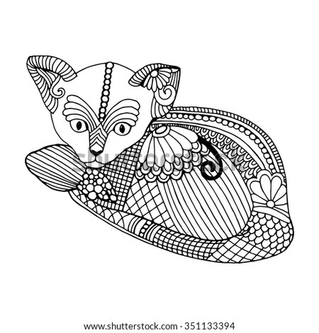 Stylized patterned illustration of cat.  - stock vector