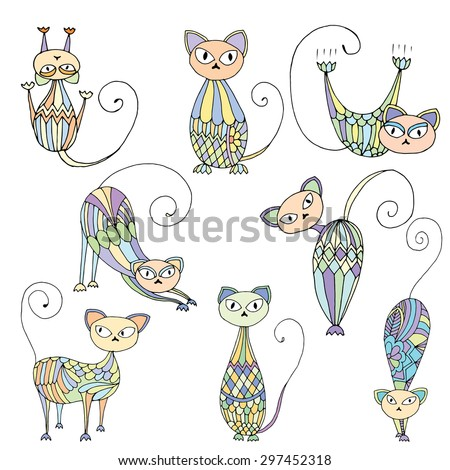 Stylized patterned illustration of cat - various cat movements on simple white background - stock vector