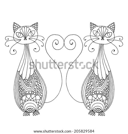 Stylized patterned illustration of cats with tails in hart shape  - stock vector