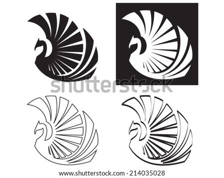 Stylized Phoenix, Vector illustration - stock vector