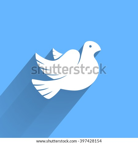 Stylized pigeon of peace white icon with long shadow in the blue sky