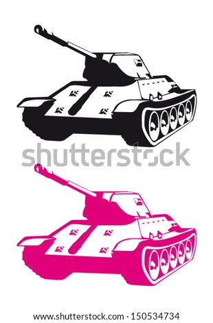 Stylized Pink and Black Tank Vector Set - stock vector