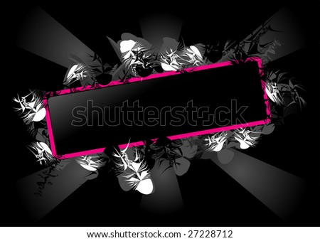Stylized pink and black vector rectangle. - stock vector
