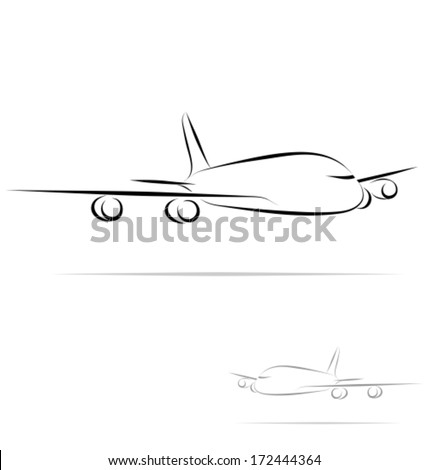Stylized plane in outline mode. Isolated on white background. Vector illustration. - stock vector