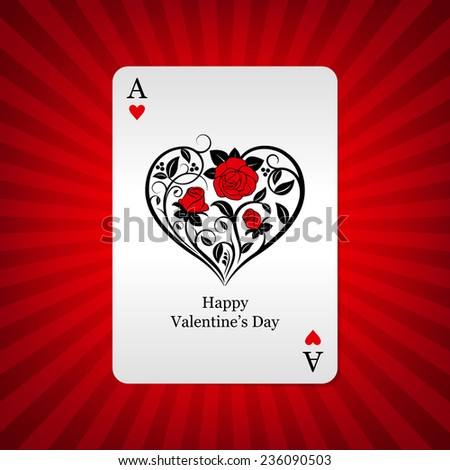 Stylized playing card ace of hearts on background