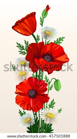 Stylized poppies and chamomile on a light background. Red poppies. Flower arrangement on a light background. Flowers for a card. Vector illustration