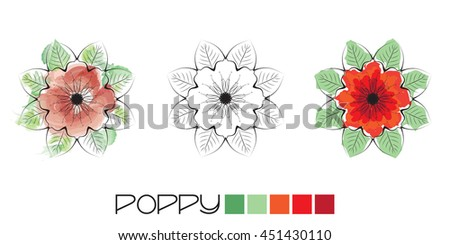 Stylized Poppy colouring, page with watercolour and flat colour examples and a black and white option to complete yourself. EPS10 vector format - stock vector