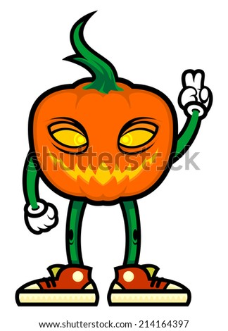 Stylized pumpkin in sneakers.