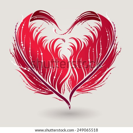 Stylized red heart made by feathers in vector. - stock vector