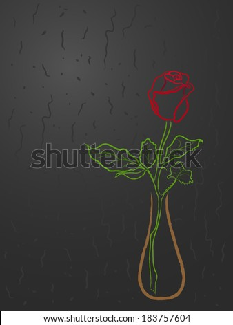 Stylized red rose in a vase over abstract dark grey background, hand drawing vector illustration - stock vector