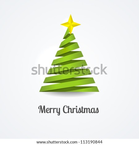 Stylized ribbon Christmas tree with yellow star. Vector illustration. - stock vector