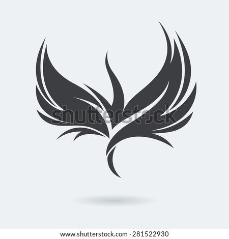 Stylized rising flying bird logo in grey color. Phoenix or Eagle image. Vector illustration. Works well as a tattoo, logo, print or mascot. - stock vector