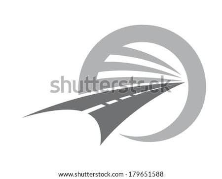 Stylized road with center markings disappearing to infinity or a vanishing point within a circle depicting road travel and transport, vector icon in shades of grey and white - stock vector