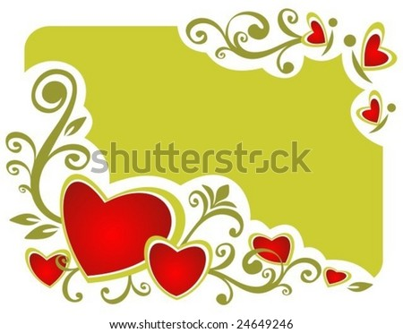 Stylized romantic background with hearts and floral curves.